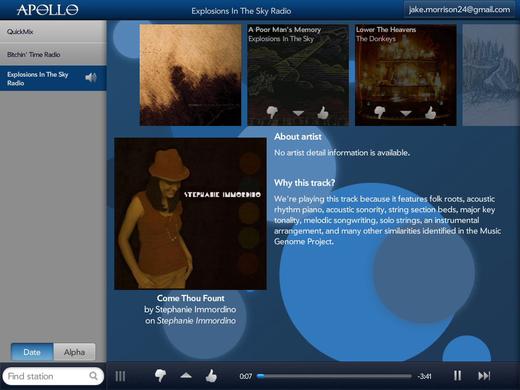Apollo For Touchpad (A Pandora Radio Client) Screenshot 0