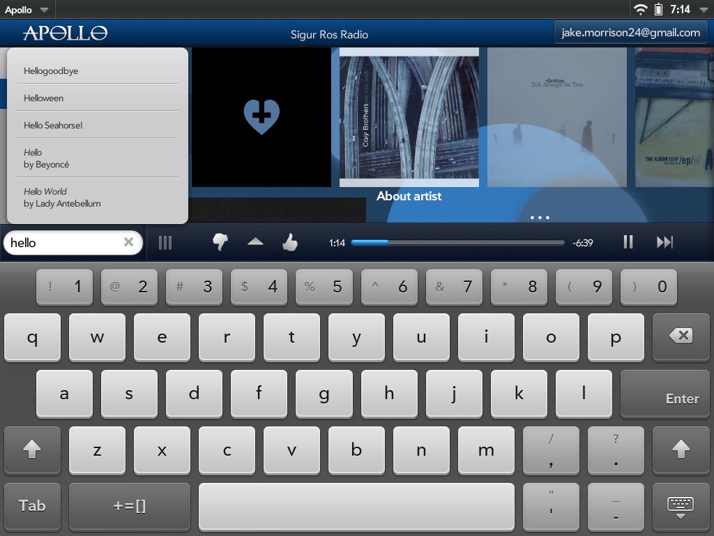 Apollo For Touchpad (A Pandora Radio Client) Screenshot 4